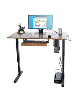 Milliard Height Adjustable Standing Desk | 48 X 24in Desktop W/Sliding Keyboard Tray | Walnut Finish W/Black Hardware by Milliard