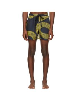 Black & Gold Amnesia Night Swim Shorts by Double Rainbouu