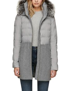 Straight Fit Mixed Media Coat With Genuine Silver Fox Fur Trim by Soia & Kyo