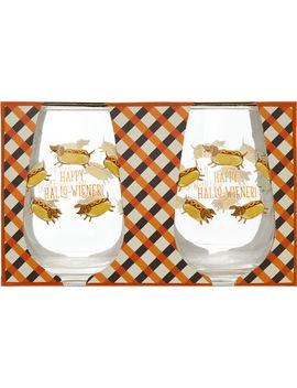 Set Of Two Hotdog Stemless Wine Glasses by