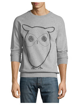 Men's Big Owl Graphic Print Fleece Sweatshirt by Knowledge Cotton Apparel