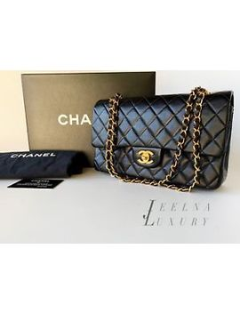 Auth Chanel Black 2.55 Medium M/L Classic Double Flap Bag 24k Gold Hardware by Chanel
