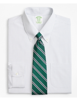 Stretch Milano Slim Fit Dress Shirt, Non Iron Windowpane by Brooks Brothers