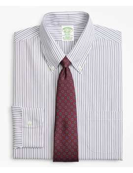 Stretch Milano Slim Fit Dress Shirt, Non Iron Alternating Triple Stripe by Brooks Brothers