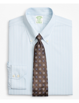 Stretch Milano Slim Fit Dress Shirt, Non Iron Royal Oxford Alternating Stripe by Brooks Brothers