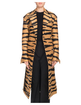 Wrap Button Front Belted Tiger Jacquard Long Coat W/ Fringe by Proenza Schouler