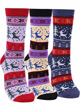 Women's 3 Pairs Vintage Style Cotton Crew Socks by Anata