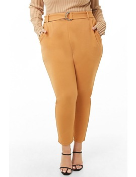 Plus Size Belted High Rise Pants by Forever 21