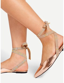 Lace Up Pointed Toe Mule Flats by Shein