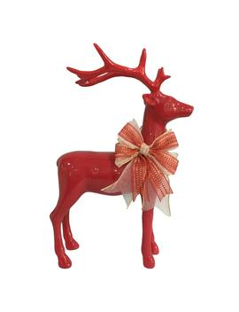 14.5 In. H Christmas Red Standing Reindeer With Bow by Home Accents Holiday