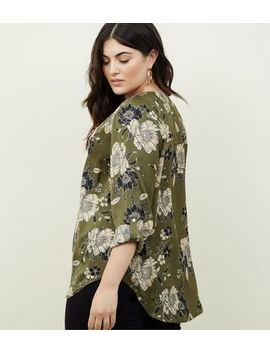 Curves Green Satin Long Sleeve Floral Shirt by New Look