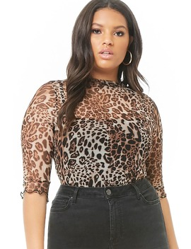Plus Size Leopard Print Lettuce Edge Top by Forever 21