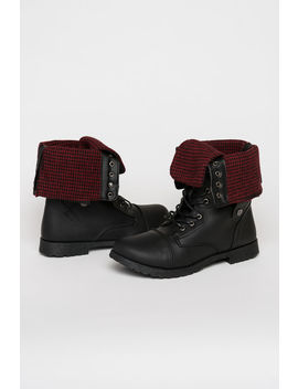Folded Plaid Combat Boots by Ardene