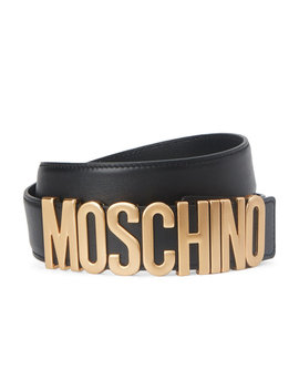 Black Leather & Gold Tone Logo Keeper Belt by Moschino