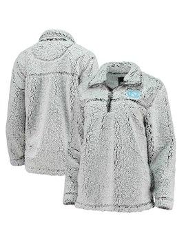 North Carolina Tar Heels Women's Sherpa Super Soft Quarter Zip Pullover Jacket – Gray by Boxercraft