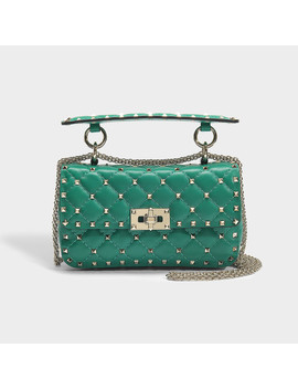 Rockstud Spike Small Shoulder Bag In Green Calfskin by Valentino Garavani