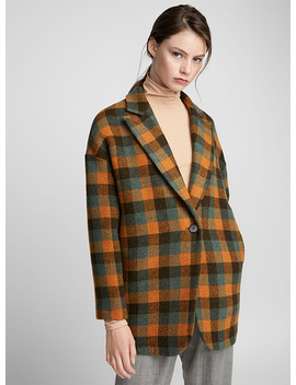 Checkered Pea Coat by Mm6 Maison Margiela