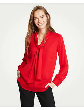 Petite V Neck Bow Blouse by Ann Taylor