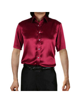 Mens Short Sleeve Shirts Casual Formal Slim Fit Shirt Top Silk Shirt S M L Xl by Ebay Seller