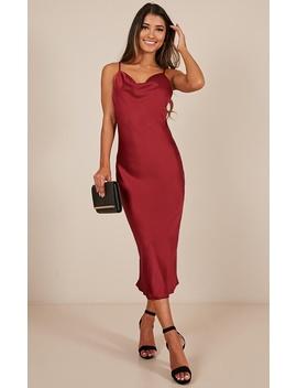 Know The Drill Dress In Wine Satin by Showpo Fashion