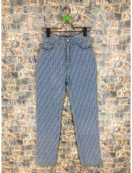 Fendi Zucca Pants Fendi Monogram Blue Pants Fendi Roma Jeans Fendi Jeans Trouser Made In Italy Waist 26 Inches by Etsy