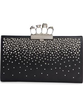 Four Ring Studded Knuckle Clasp Leather Clutch by Alexander Mcqueen