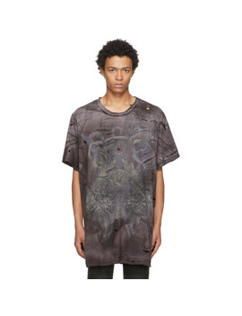 Black Extra Oversized Destroy Lions T Shirt by Balmain
