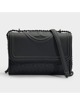 Fleming Matte Small Convertible Shoulder Bag In Black Synthetic Leather by Tory Burch