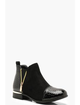 Croc Mix Material Chelsea Boots by Boohoo