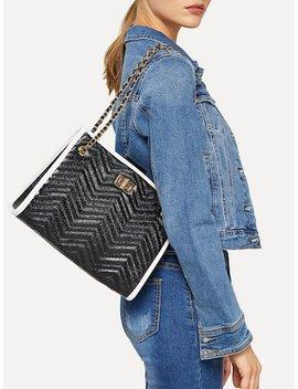 Chevron Detail Twist Lock Shoulder Bag by Sheinside