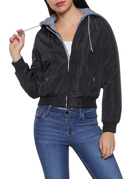 Hooded Double Zip Bomber Jacket by Rainbow