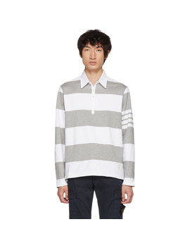 Grey & White Four Bar Relaxed Polo by Thom Browne