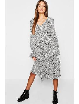 Ruffle Front Dalmatian Print Midi Dress by Boohoo