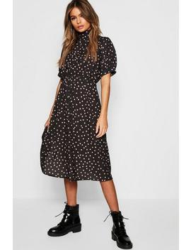 Polka Dot Asymmetric Hem Midi Dress by Boohoo