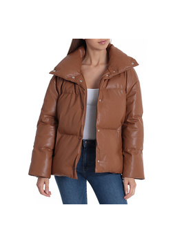 Bagatelle Nyc Faux Leather Puffer Jacket by Qvc