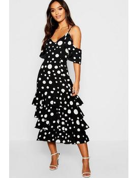 Petite Large Spot Ruffle Hem Midi Dress by Boohoo