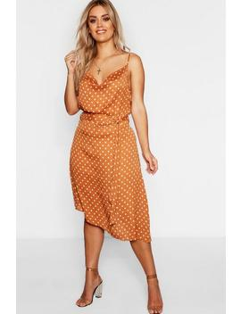 Plus Satin Polka Dot Cowl Neck Midi Dress by Boohoo