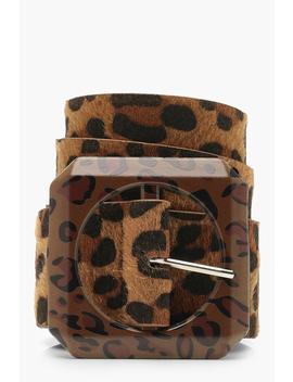 Statement Buckle Leopard Belt by Boohoo