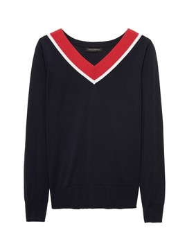 Merino Varsity V Neck Sweater by Banana Repbulic