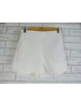 Sportsgirl Short Shorts Xs White Exposed Zip Textured Material by Sportsgirl