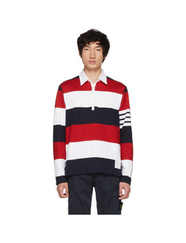 Red & White Four Bar Relaxed Polo by Thom Browne