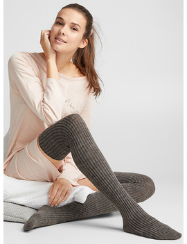 Rib Knit Thigh Highs by Lemon