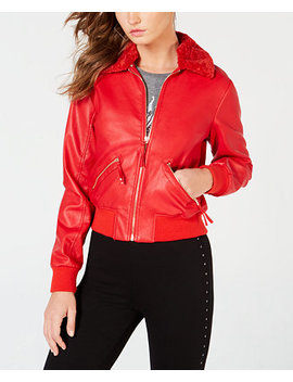 Tani Faux Leather Bomber Jacket by Guess