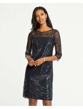 Sequin Lace Shift Dress by Ann Taylor