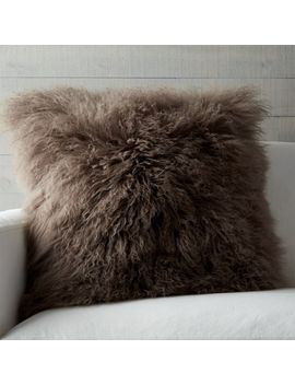 "Pelliccia Mushroom Brown 23"" Pillow With Feather Down Insert by Crate&Barrel"