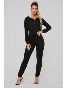 Chill Zone Hooded Jumpsuit   Black by Fashion Nova