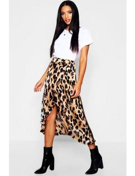 Leopard Print Satin Wrap Midaxi Skirt by Boohoo