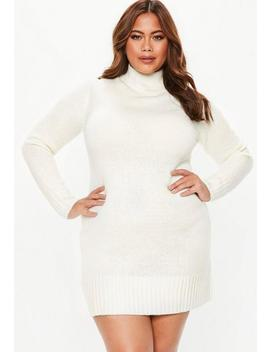 Plus Size Cream Turtle Neck Sweater Dress by Missguided