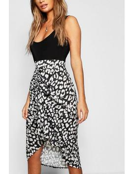 Leopard Print Ruched Skirt by Boohoo