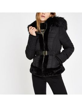 Black Padded Faux Fur Hood Belted Coat by River Island
